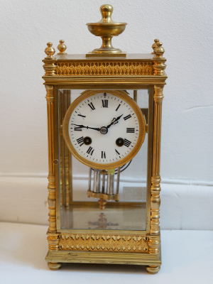 french 8 day four glass clock